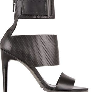 TIBI Black Evie Perforated Leather Sandals sz 40.5